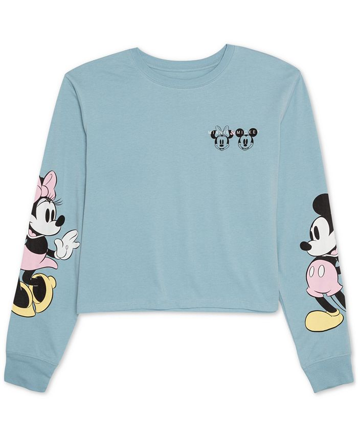 Disney - Juniors' Mickey & Minnie Mouse Long-Sleeved Graphic T-Shirt