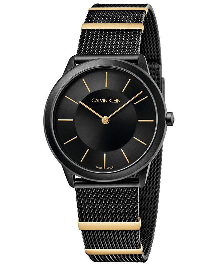 Calvin Klein - Women's Midsize Minimal Two-Tone PVD Stainless Steel Mesh Bracelet Watch 35mm