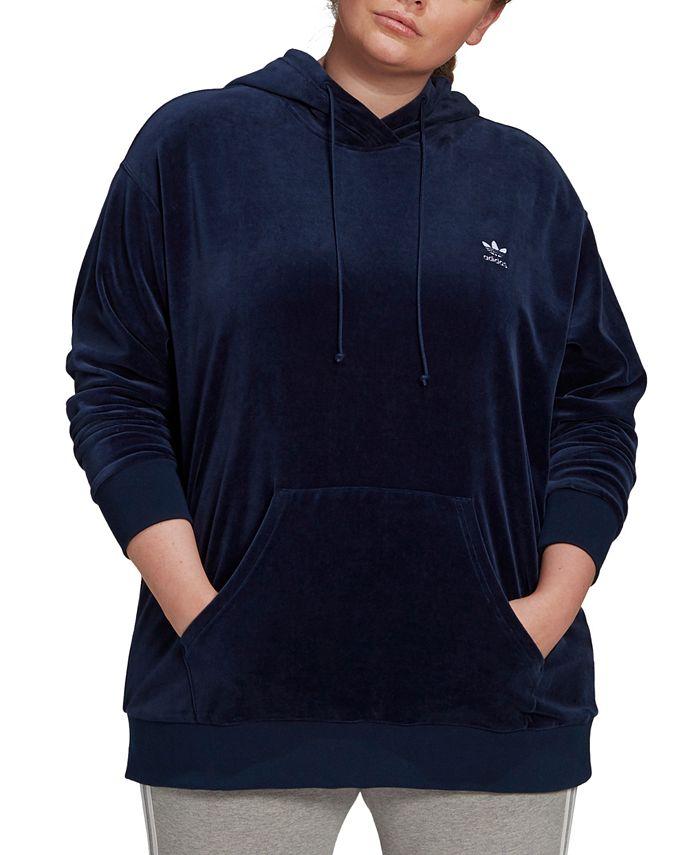 adidas - Plus Size Velour Logo Hoodie