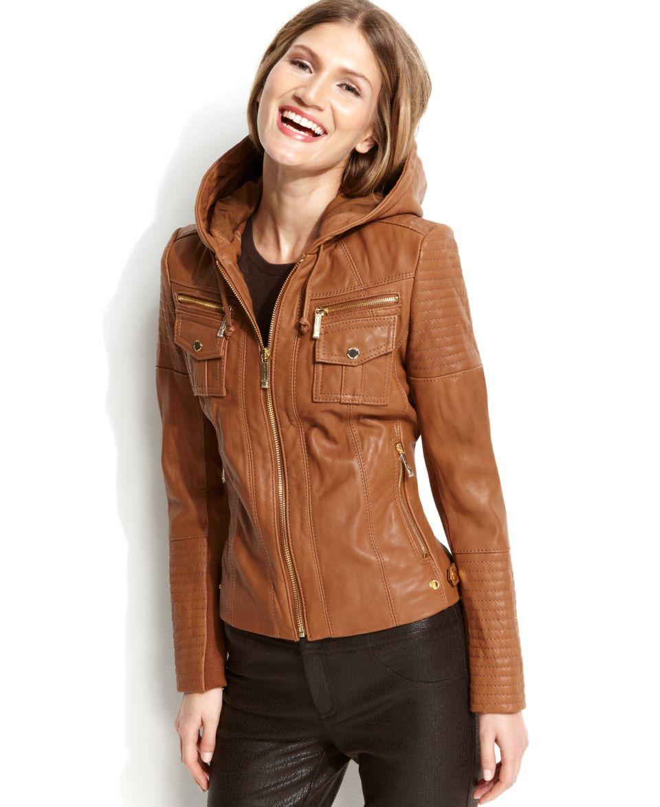 MICHAEL Michael Kors Hooded Leather Jacket   Coats   Women