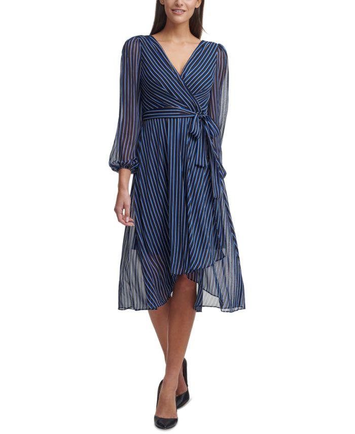 Tommy Hilfiger Striped Chiffon Balloon-Sleeve Dress & Reviews - Dresses - Women - Macy's