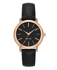 Nine West Women's Crystal Accented Rose Gold-Tone and Black Croco-Grain Strap Watch, 35mm