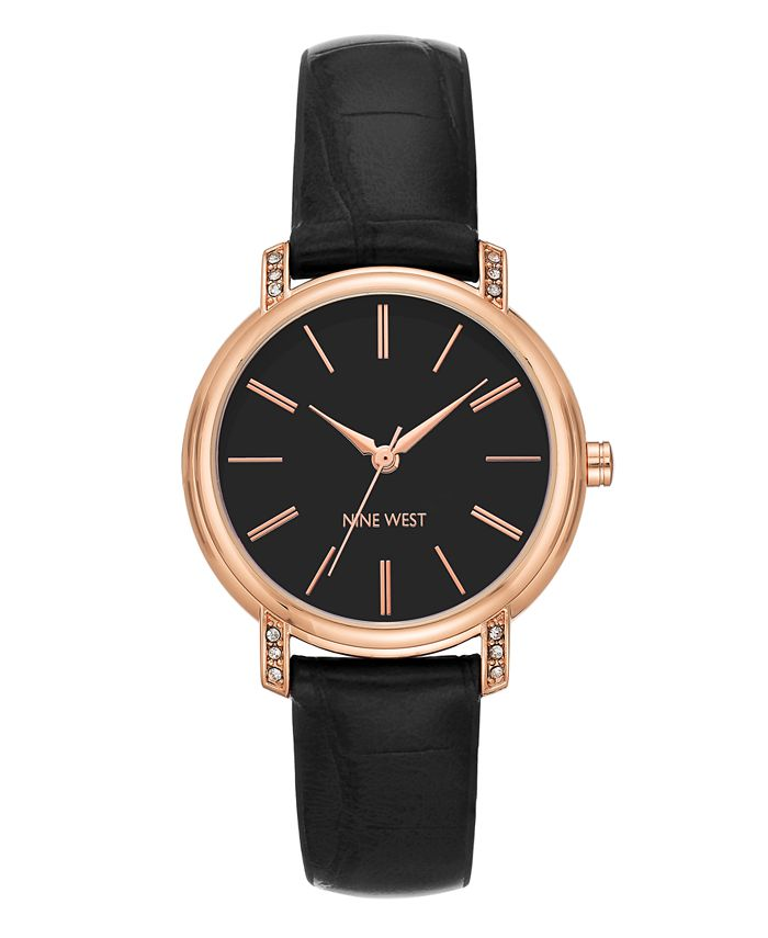 Nine West - Crystal Accented Rose Gold-Tone and Black Croco-Grain Strap Watch, 35mm