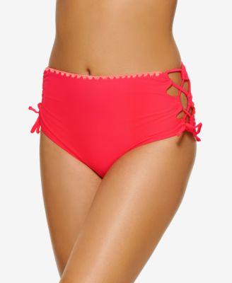 Juniors' Zig-Zag Zinc Cheeky High-Waist Bikini Bottoms, Created for Macy's