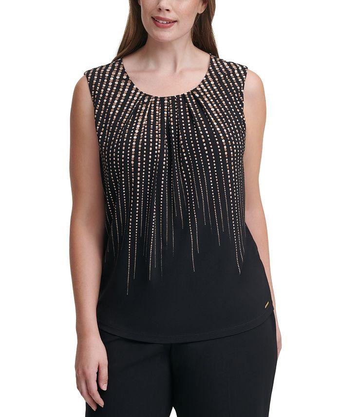 Calvin Klein - Plus Size Dot-Print Sleeveless Top