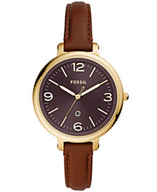Fossil Women's Monroe Gold-Tone Brown Leather Strap Watch 38mm