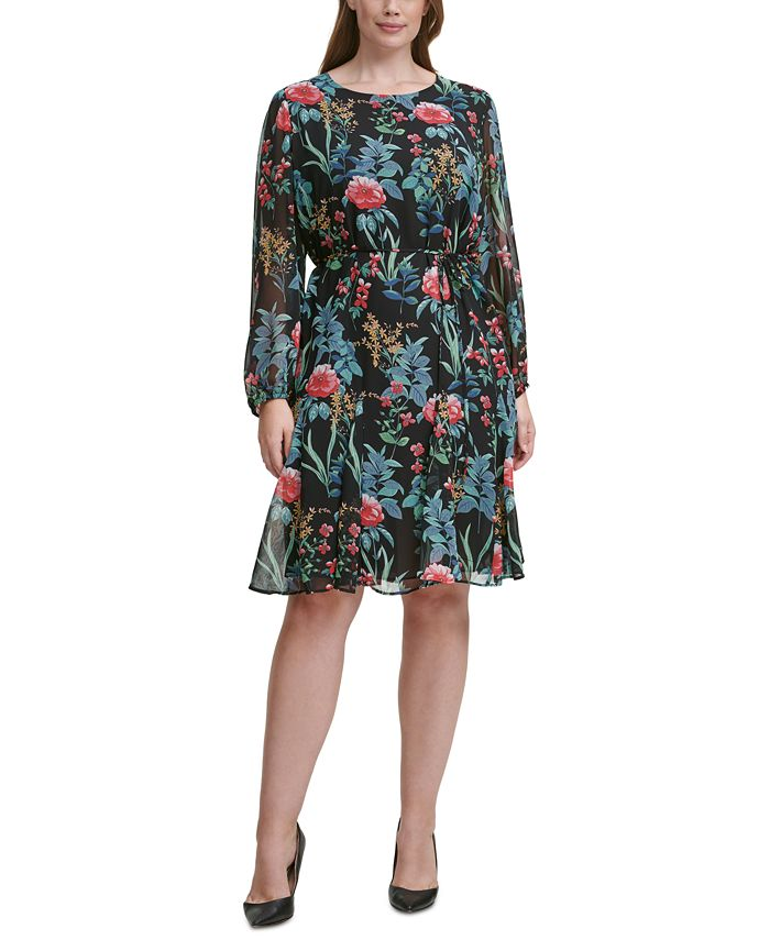 Tommy Hilfiger - Plus Size Floral-Print Tie-Waist Fit & Flare Dress
