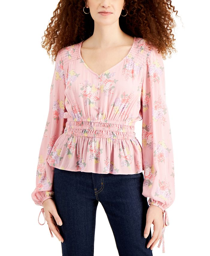 Planet Gold - Juniors' Printed Peplum Peasant Top