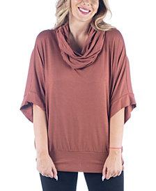 Women's Plus Size Oversized Cowl Neck Tunic Top