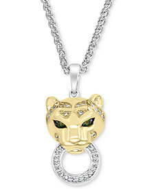 """EFFY® Diamond (1/8 ct. t.w.) & Tsavorite Accent Panther Doorknocker 18"""" Pendant Necklace in Sterling Silver & 14k Gold-Plate"""