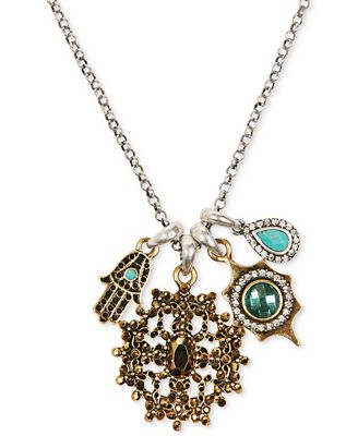 Lucky brand two tone hamsa multi stone charm necklace for Macy s lucky brand jewelry
