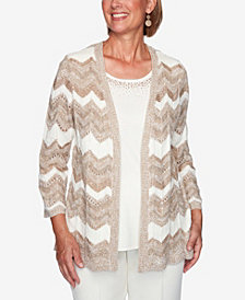 Women's Plus Size Dover Cliffs Chevron Pointelle Two-For-One Sweater