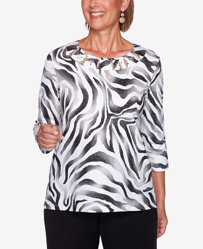 Alfred Dunner Women's Plus Size Modern Living Animal Print Shimmer Top