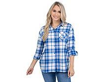 UG Apparel Kentucky Wildcats Women's Flannel Boyfriend Plaid Button Up Shirt