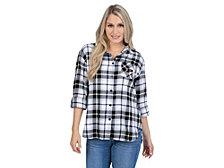UG Apparel Purdue Boilermakers Women's Flannel Boyfriend Plaid Button Up Shirt