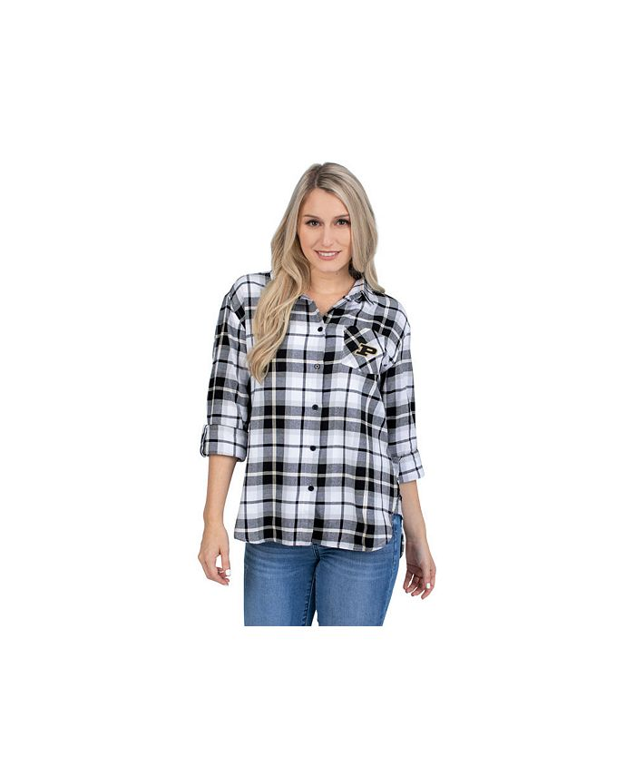 Lids - Purdue Boilermakers Women's Flannel Boyfriend Plaid Button Up Shirt