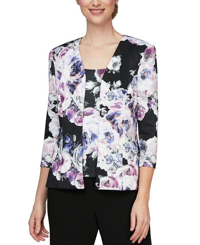 Alex Evenings - 2-Pc. Floral-Print Jacket & Top Set