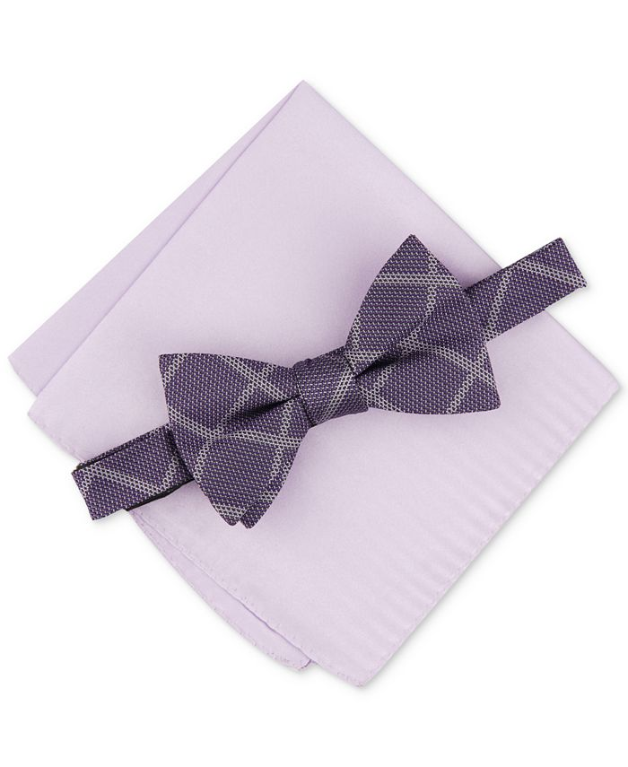 Alfani - Men's 2-Pc. Pre-Tied Grid Bow Tie & Solid Pocket Square Set