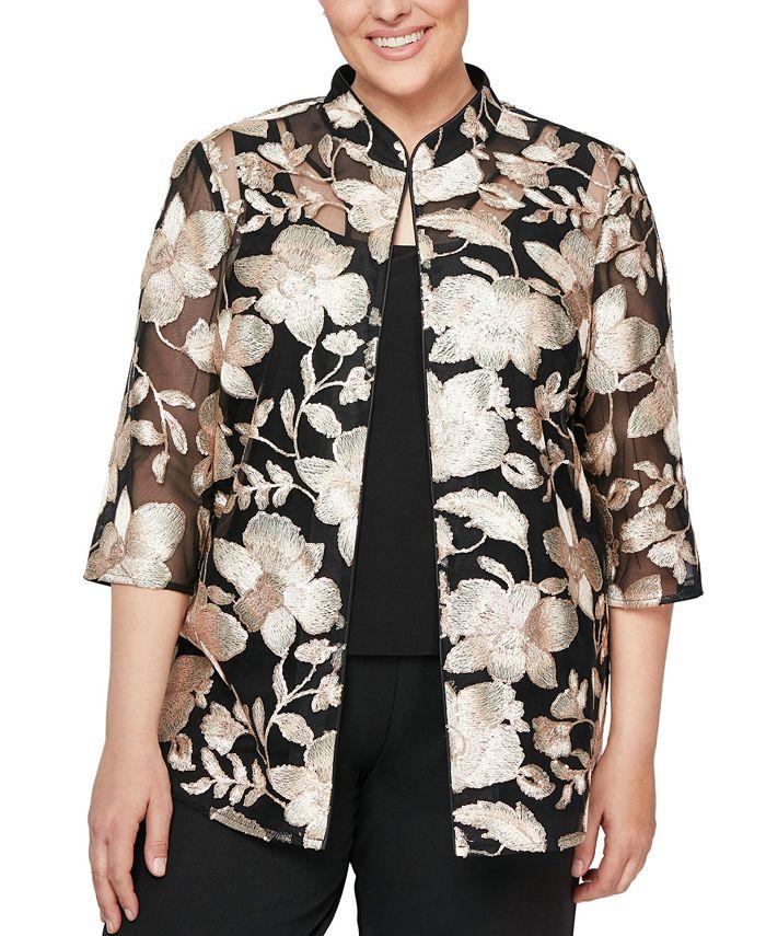 Alex Evenings - Plus Size Embroidered Jacket & Top Set