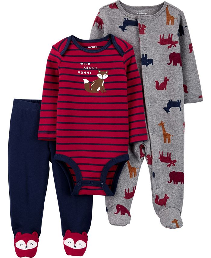 Carter's - Carters Baby Boy or Girl 3-Piece Squirrel Bodysuit & Footed Pant Set