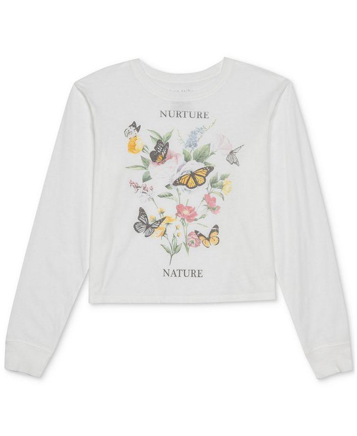 Love Tribe - Juniors' Butterfly Long-Sleeve T-Shirt
