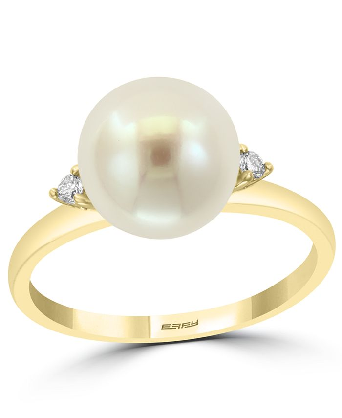 EFFY Collection - Cultured Freshwater Pearl (9mm) & Diamond (1/20 ct. t.w.) Ring in 14k Gold