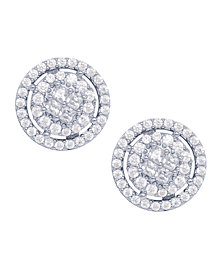 Cubic Zirconia Round Halo Stud Earrings in Fine Silver Plated
