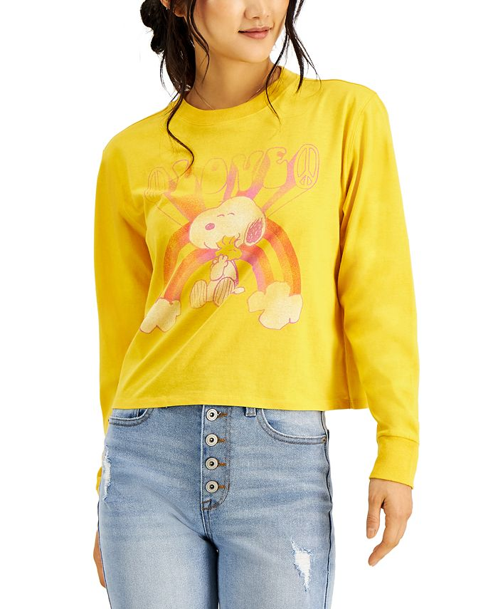Mad Engine - Juniors Peanuts Snoopy Graphic Long Sleeve Top