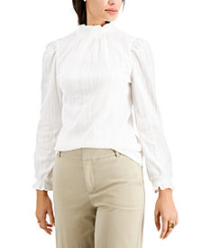 Charter Club Ruffled Mock-Neck Top, Created for Macy's