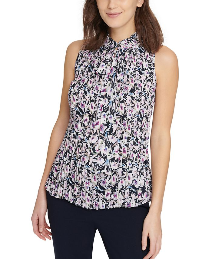 DKNY - Printed Pleated Top