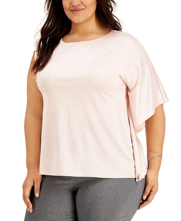 Alfani - Plus Size One-Shoulder Flutter-Sleeve Top