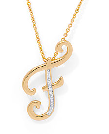 """Diamond Accent Initial Pendant Necklace 18"""" in Gold Plate"""