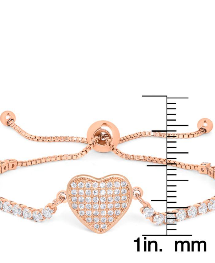 Macy's Cubic Zirconia Heart Adjustable Bolo Bracelet in Fine Rose Gold Plate & Reviews - Bracelets - Jewelry & Watches - Macy's