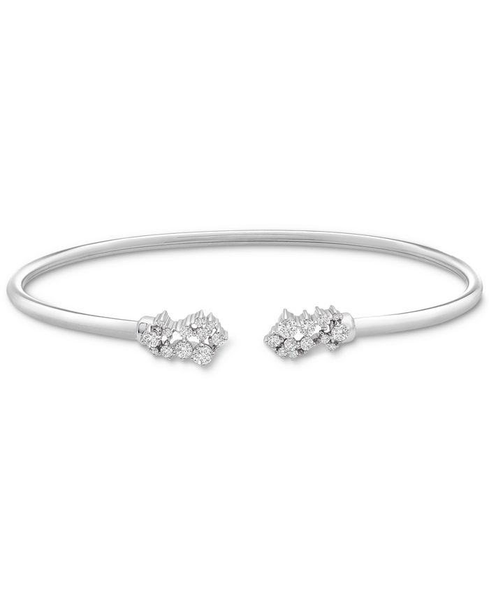 Wrapped - Diamond Scattered Cluster Flex Cuff Bangle Bracelet (1/4 ct. t.w.) in Sterling Silver