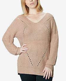 Ultra Flirt Juniors' Lace up Back Tunic Sweater