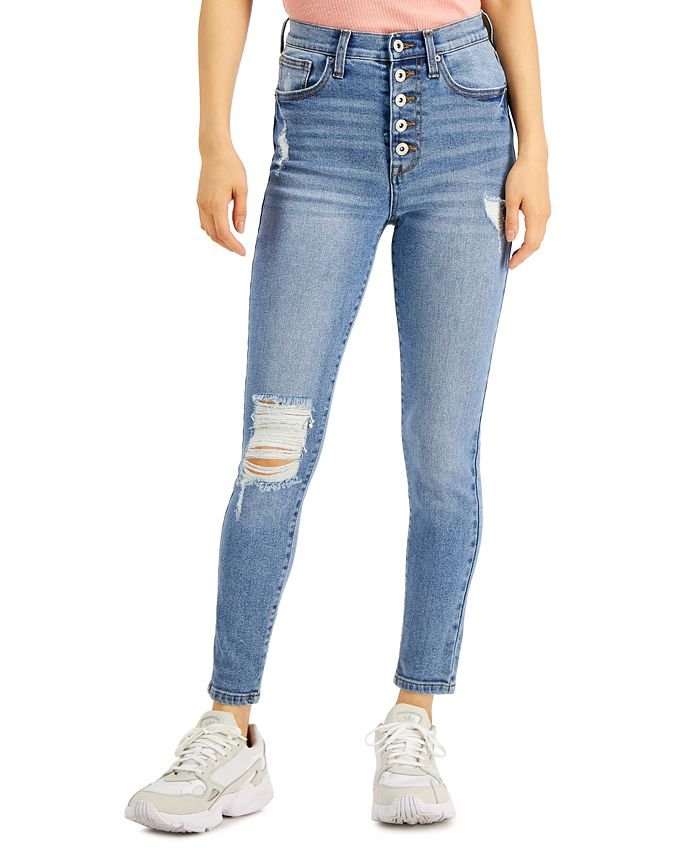 Celebrity Pink - Juniors' Distressed Button-Fly Skinny Jeans