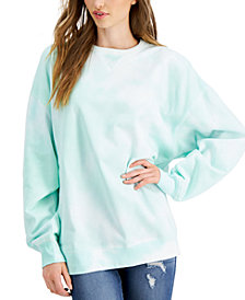 Belle Du Jour Juniors' Tie-Dyed Oversized Sweatshirt
