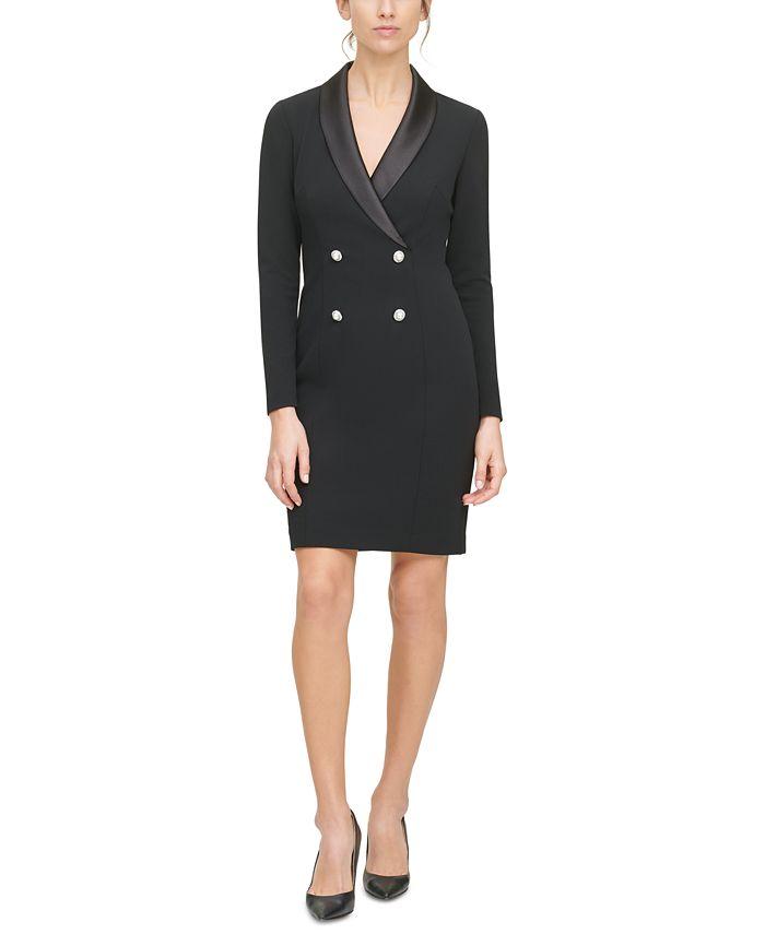 HARPER ROSE - Satin-Collar Tuxedo Dress