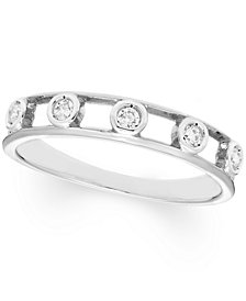 Diamond Bezel Band (1/8 ct. t.w.) In 10K Rose , Yellow Or White Gold