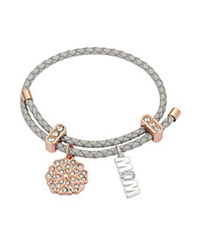 "Unwritten Metallic Cord and Rose Gold Flash Fine Silver Plated Crystal Flower ""Mom"" Adjustable Charm Bracelet"