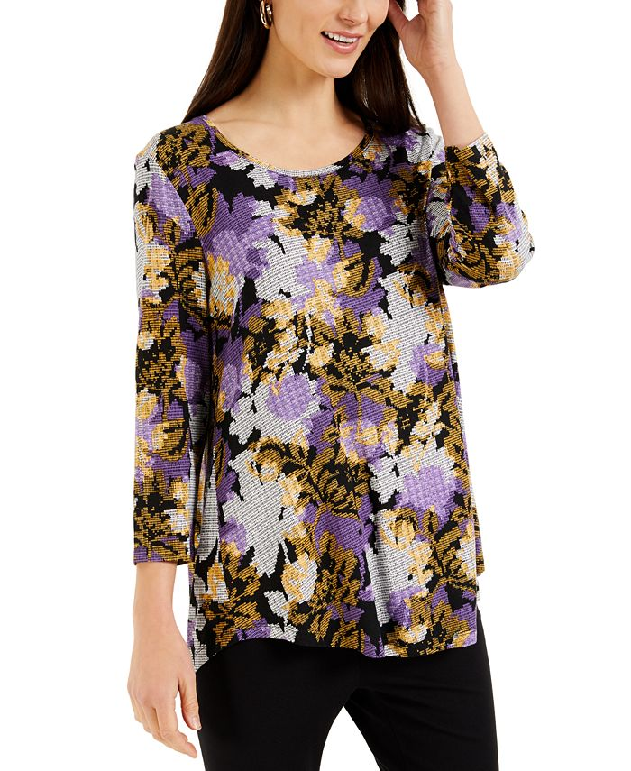 JM Collection - Floral-Print 3/4-Sleeve Top