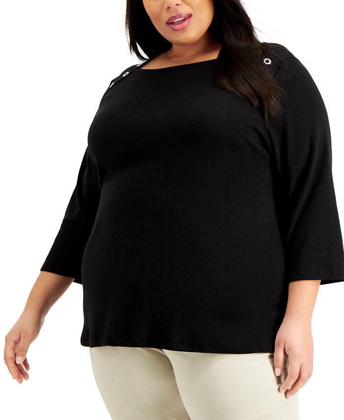 Karen Scott - Plus Size 3/4-Sleeve Top