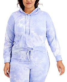 Derek Heart Plus Size Tie-Dyed Hooded Sweatshirt