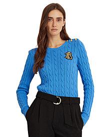 Lauren Ralph Lauren Signature Patch Cable-Knit Sweater