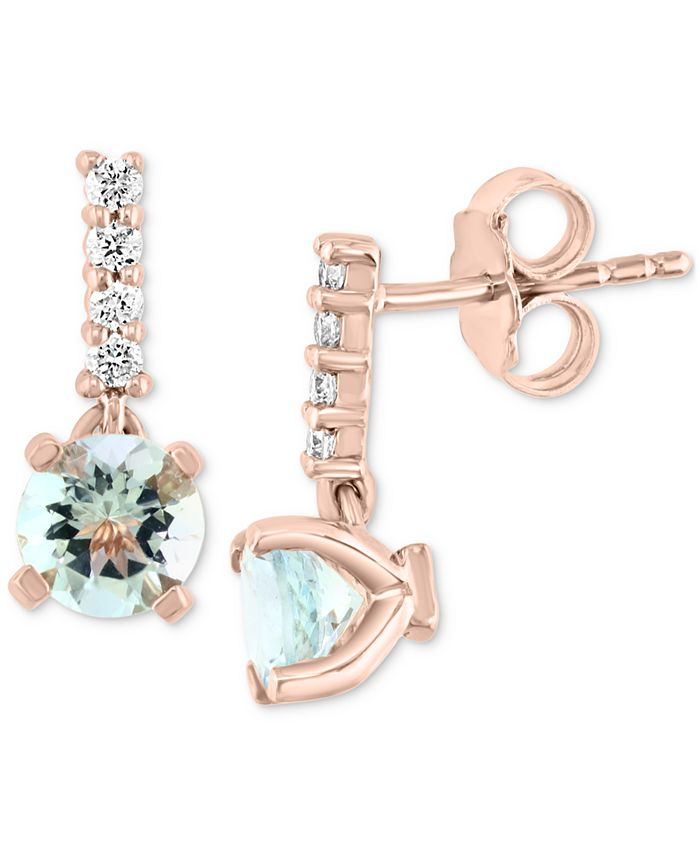 EFFY Collection - Aquamarine (1-1/2 ct. t.w.) & Diamond (1/6 ct. t.w.) Drop Earrings in 14k Rose Gold