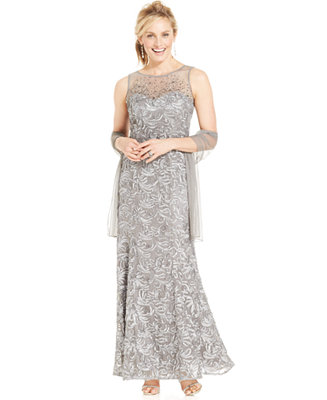 Ignite Beaded Illusion Embroidered Gown And Shawl