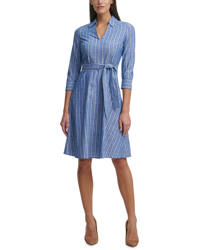 Tommy Hilfiger - Cotton Striped Belted Dress