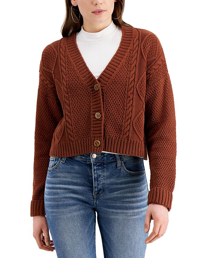 Hooked Up by IOT - Juniors' Cable-Knit Cardigan