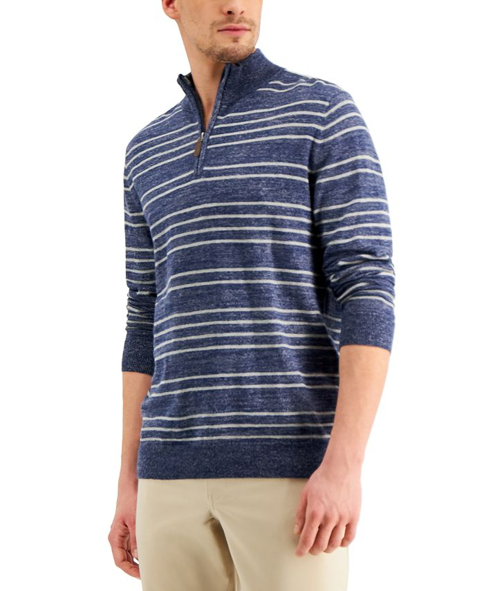 Club Room - Men's Low Tide Striped Quarter-Zip Sweater
