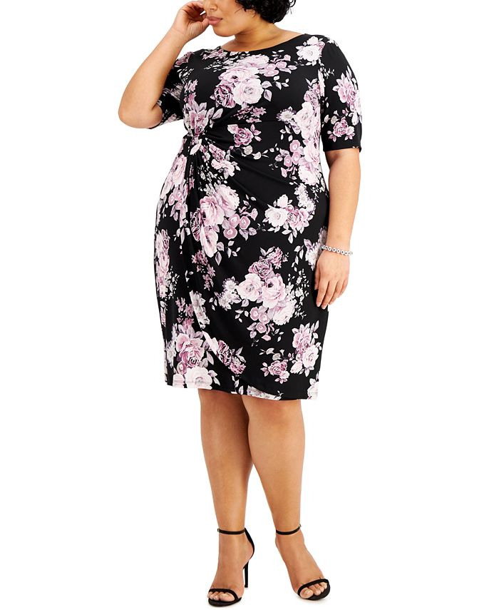 Connected - Plus Size Floral-Print Side-Ruched Sheath Dress